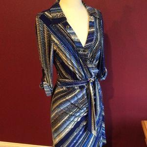 laundry by shelli segal Blue Faux Wrap Dress Matte